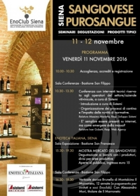 Sangiovese Purosangue Siena, 11-12 novembre - Wine and Tours by Enocuriosi